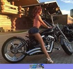 Production (Stock) Harley-Davidson Unknown (HD), Cute model with a cool custom motorcycle! a woman sitting on a Harley-Davidson  Streetbike