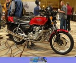 Production (Stock) Honda CBX Models, Production (Stock)- Honda  CBX1000 Motorcycle a group of people standing around a Honda CBX1000 Streetbike