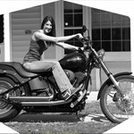 Women Harley-Davidson FXS Models, Hot babe with a Harley Davidson FXSTB motorcycle!