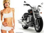 Women Triumph Unknown (Triumph), Hot babe with a Triumph motorcycle!
