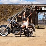 Women Harley-Davidson Softail, Hot babe with a Harley Davidson Softail motorcycle!