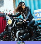 Women Triumph Unknown (Triumph), Hot babe on a cool custom motorcycle! a woman riding on the back of a Triumph  Streetbike