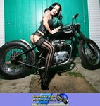 Women Triumph Unknown (Triumph), Hot babe with a cool custom motorcycle! a woman sitting on a Triumph  Streetbike