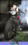 Women Triumph Unknown (Triumph), Cute model with a cool custom motorcycle! a person sitting on a Triumph  Streetbike