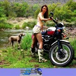 Women Triumph Unknown (Triumph), Cute model with a cool custom motorcycle! a person riding on a Triumph  Streetbike