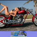 Women Unknown Unknown (Unknown), Cute model with a cool custom motorcycle!