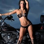 Women Unknown Unknown (Unknown), Cute model posing with a cool custom motorcycle!