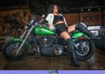 Women Harley-Davidson Softail, Hot babe on Harley Davidson/Softail motorcycle. a woman sitting on a Harley-Davidson Softail Streetbike