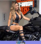 Women Harley-Davidson Unknown (HD), Kristin Strout sitting on a motorcycle a woman sitting on a Harley-Davidson  Streetbike