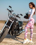 Women Yamaha V-Max, a girl sitting on a motorcycle a woman with a Yamaha V-Max Streetbike