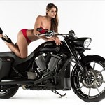 Women Victory Unknown (Victory), Anzél Stofberg sitting on a motorcycle Anzél Stofberg sitting on a Victory  Streetbike
